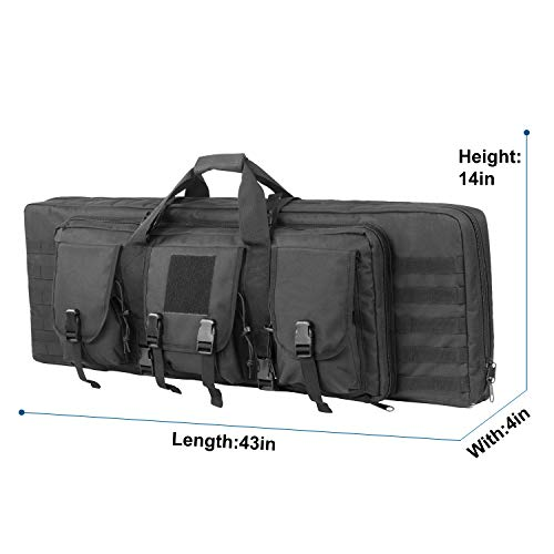 Fox Tactical  4 Fox Tactical 38 42 Inch Double Long Rifle Gun Case Bag Outdoor Tactical Carbine Cases Water Dust Resistant Fireproof for Hunting Shooting (Black