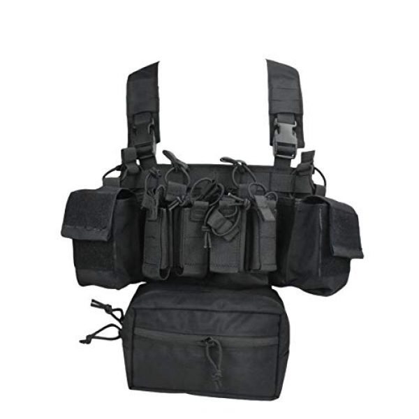 Jadedragon Airsoft Tactical Vest 1 Jadedragon Tactical Chest Vest with Drop Pouch Sub Abdominal Carrying Kit Bag and Multi-Pockets for Airsoft Shooting Wargame Paintball