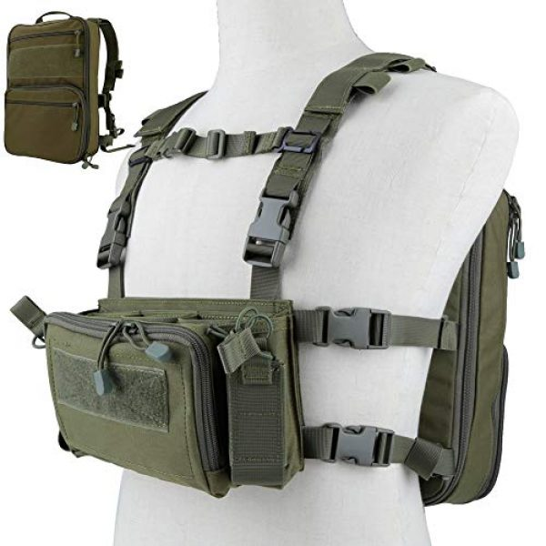 DETECH Airsoft Tactical Vest 1 DETECH Tactical Vest Airsoft Ammo Chest Rig 5.56 9mm Magazine Carrier with Molle Flatpack Backpack