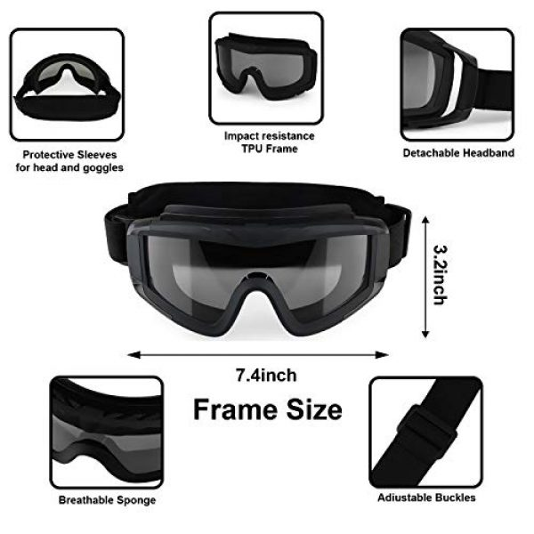 Flantor Airsoft Goggle 2 Flantor Airsoft Goggles -Outdoor Tactical Goggles Safety Anti Fog Goggles Military Goggle Glasses with 3 Interchangable Lenses & UV400 Protection for Paintball Hunting shotting Cycling