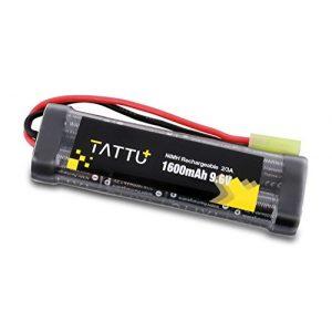 TATTU+ Airsoft Battery 1 TATTU 9.6V 1600mAh NiMH Flat Battery Pack with Mini Tamiya Connector