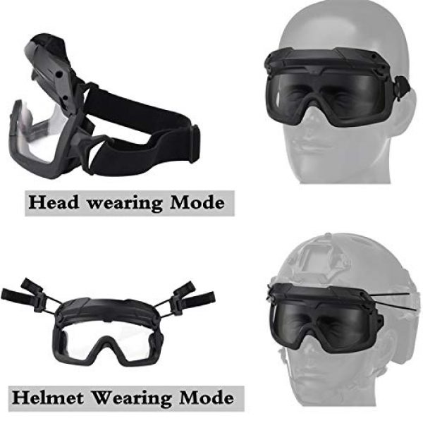 Jadedragon Airsoft Goggle 3 Airsoft Goggles Tactical Safety Goggles Impact Resistance Hunting Eyewear with Dual Mode Wearing methodfor Paintball Riding Shooting Hunting