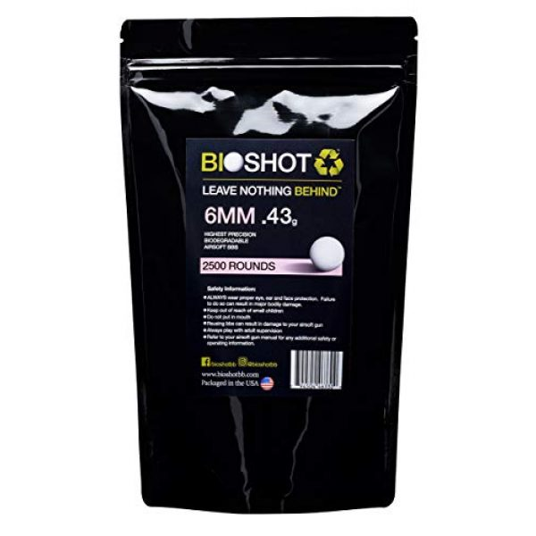 BioShot Airsoft BB 1 BioShot Biodegradable Airsoft BBS - .43g Super Slick Seamless Sniper Weight Competition Match Grade for All 6mm Airsoft Guns and Accessories (2500 Rounds, White)