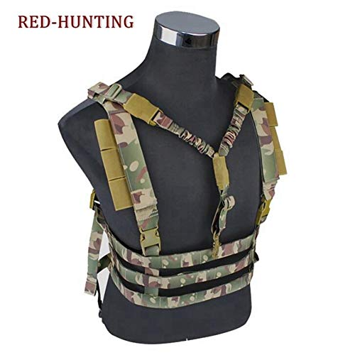 Shefure  2 Shefure Military Tactical Vest Airsoft Molle System Low Profile Chest Rig Removable Gun Sling Hunting Airsoft Paintball Gear