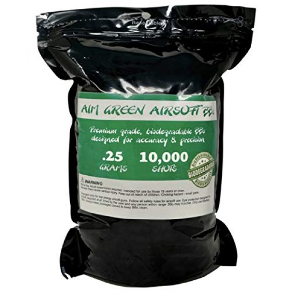 Aim Green Airsoft BB 1 Aim Green: Biodegradable Airsoft BBS .25g - Pellets - 6mm 10,000 Rounds - Smooth Finish BBS