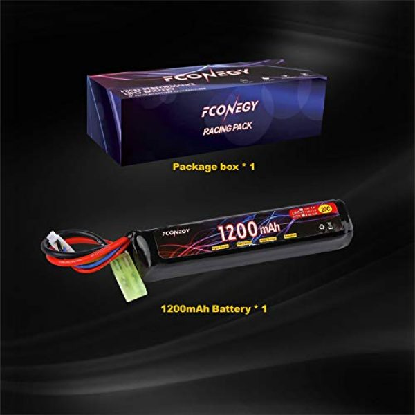 FCONEGY Airsoft Battery 7 FCONEGY 2S/3S 7.4V/11.1V 1200mAh 20C Lipo Battery Pack with Small Tamiya Plug for Airsoft Gun/Rifle