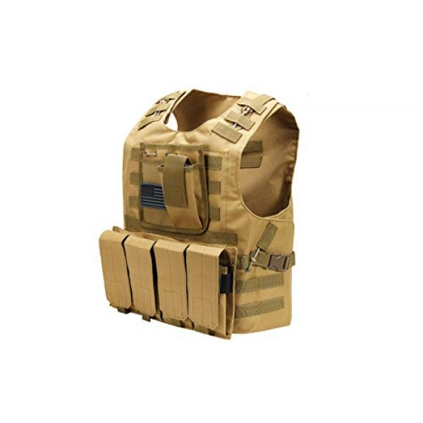 Redemption Tactical Airsoft Tactical Vest 3 Tactical Airsoft Paintball Vest, Free US Flag Patch, Mil Spec 1000D Nylon PALS Molle Modular w/ 4 Mag Pouches, Side Pouch, Chest Mag Pouch