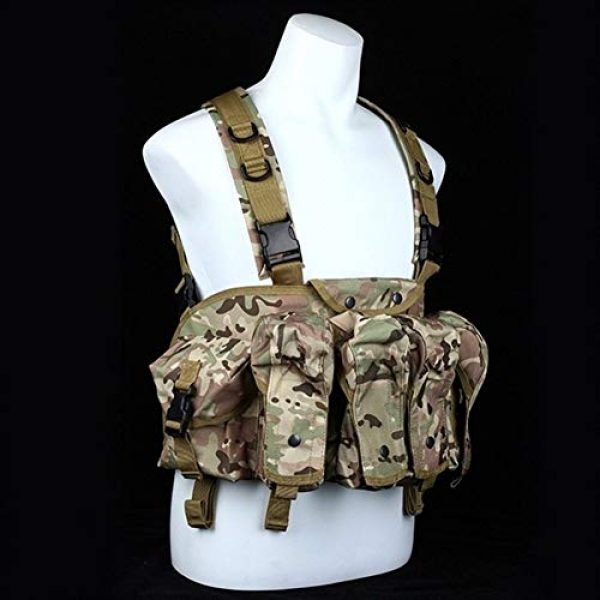 Vioaplem Airsoft Tactical Vest 1 Vioaplem CQC AK Chest Rig Molle Tactical Vest Military Army Equipment AK 47 Magazine Pouch Outdoor Airsoft Paintball Hunting Vest (Color : MC)