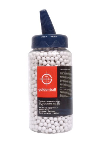 GoldenBall Airsoft BB 1 GoldenBall 0.23g Original Airsoft BBS 2000 Round Bottle 6mm Seamless Proslick Japanese Domestic Market Advanced Professional Grade Performance AEG Specification Imported Manufacturing - White