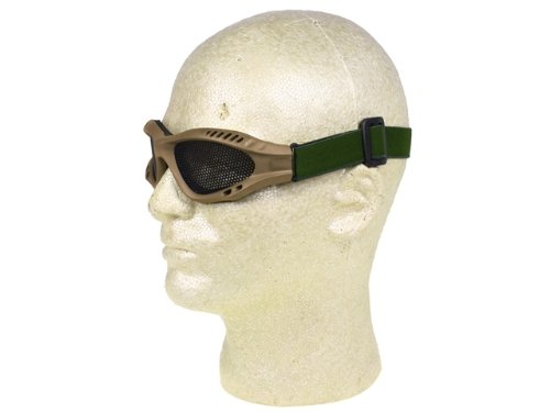 PForce Airsoft Goggle 3 Airsoft Adjustable Mesh Wire Goggles - Tan