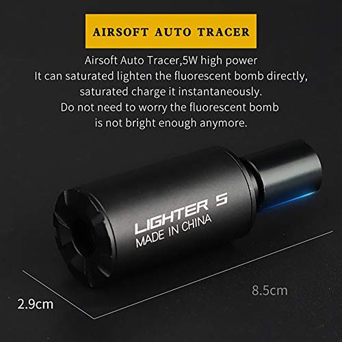 Action Union Airsoft Tool 6 Action Union Lighter S Mini Automatic Airsoft Tracer Unit BBS Glow in Dark for Airsoft Gun 14mm and 10mm Pistol with an Adaptor of M14 CCW Thread to M11 CW Thread