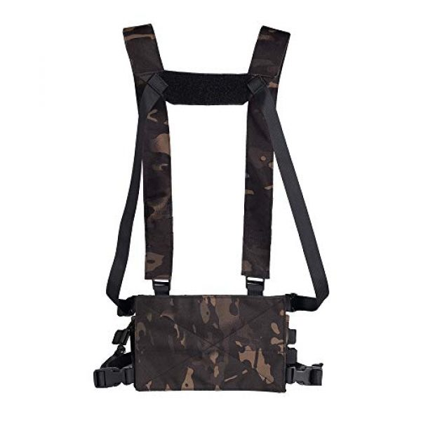 Trdio Airsoft Tactical Vest 6 Trido Chest Rig Tactical Airsoft,Molle Multicum Paintball Rigs Police Pistol Harness Holster Holder Bag Vest for Men Hunting Training