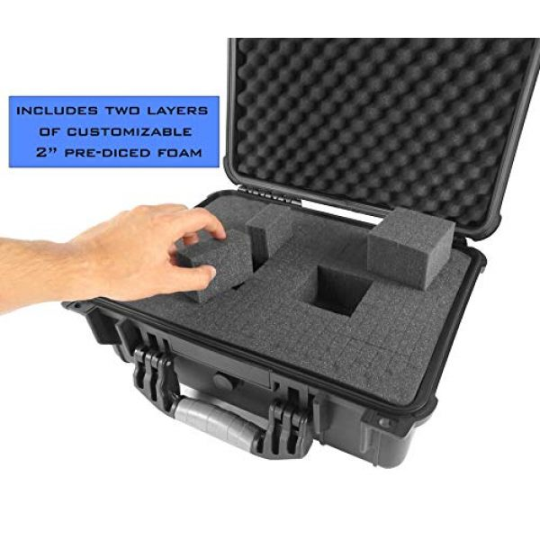 """CASEMATIX Airsoft Gun Case 6 CASEMATIX 16"""" 4 Pistol Multiple Pistol Case - Waterproof & Shockproof Hard Gun Cases for Pistols, Magazines and Accessories - Multi Gun Case for Pistols with Two Layers of 2"""" Thick Customizable Foam"""