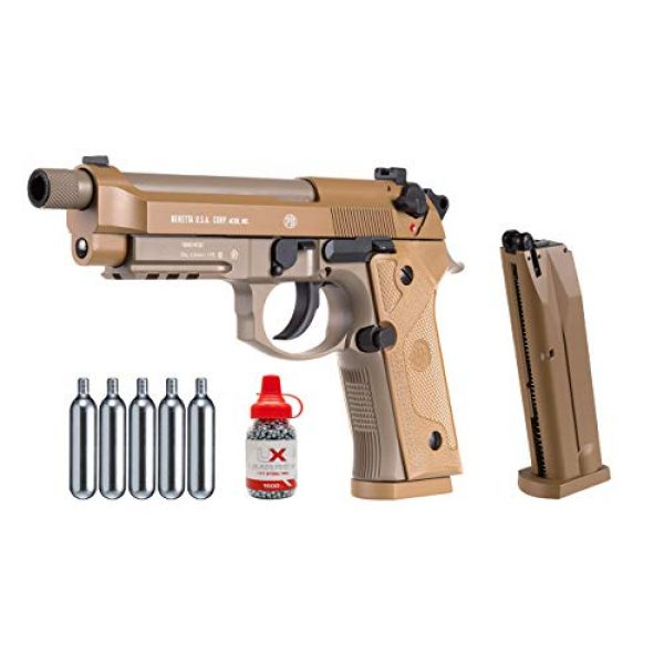 Wearable4U Air Pistol 1 Wearable4U Beretta M9A3 Blowback Air Gun and 5x12 CO2 Tanks and Pack of 1500ct Steel BBS Bundle
