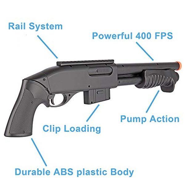 BBTac Airsoft Rifle 5 BBTac Airsoft Gun Package Desert Raider - Powerful Spring Rifle, Pump Action Shotgun, SMG, Two Pistols and BB Pellets, Preimum Airsoft Starter Pack