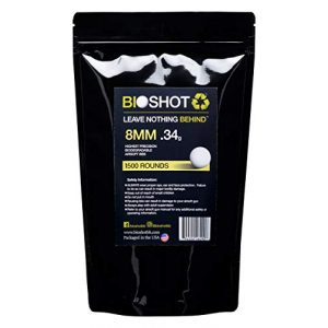 BioShot Airsoft BB 1 BioShot 8mm Biodegradable Airsoft BBS .34g Competition MatchGrade (1500 Rounds) Note: These are 8mm BBS. Please do not Purchase Unless You Know You Need an 8mm Round.
