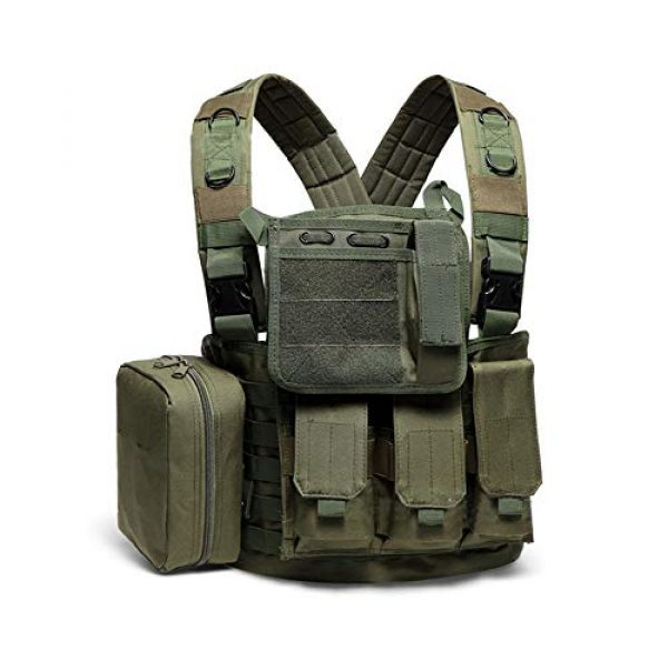 Saigain Airsoft Tactical Vest 1 Saigain Mens Molle Chest Rig Law Enforcement Work Vest Combat Condor Security Training Tool Pouch for Outdoor Paintball CS Game Airsoft Climbing Hiking