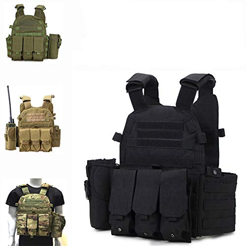 Fouos  4 Fouos Tactical Vest 600D Modoular Protective Durable Waistcoat for Airsoft Wargame Hunting and Outdoor Sports Activities