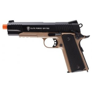RWS Airsoft Pistol 1 Elite Force 1911 Blowback 6mm BB Pistol Airsoft Gun, 1911 TAC, FDE/Black