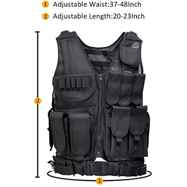 YoMont Airsoft Tactical Vest 2 YoMont Tactical Vest Outdoor Molle Vest Military for Man Women Youth Trainning Tactical Airsoft Combat Vest 600D Encryption Polyester-Military Vest-Adjustable Lightweight