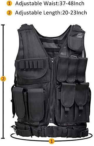 YoMont  2 YoMont Tactical Vest Outdoor Molle Vest Military for Man Women Youth Trainning Tactical Airsoft Combat Vest 600D Encryption Polyester-Military Vest-Adjustable Lightweight
