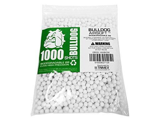 BULLDOG AIRSOFT Airsoft BB 1 Bulldog - [1000] Airsoft Pellets [0.20g] Biodegradable [6mm White] Triple Polished [Pro Team Grade]
