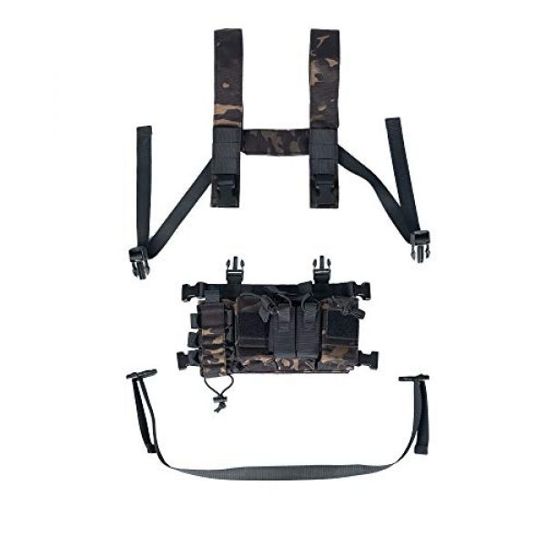 Trdio Airsoft Tactical Vest 5 Trido Chest Rig Tactical Airsoft,Molle Multicum Paintball Rigs Police Pistol Harness Holster Holder Bag Vest for Men Hunting Training