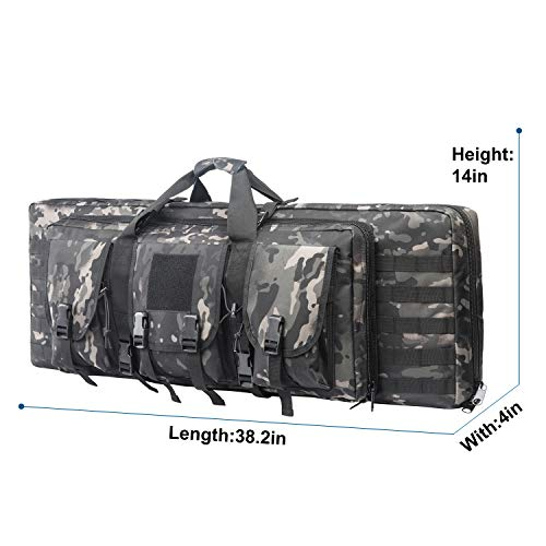 Fox Tactical Airsoft Gun Case 4 Fox Tactical 38 42 Inch Double Long Rifle Gun Case Bag Outdoor Tactical Carbine Cases Water Dust Resistant Fireproof for Hunting Shooting (Black Multicam