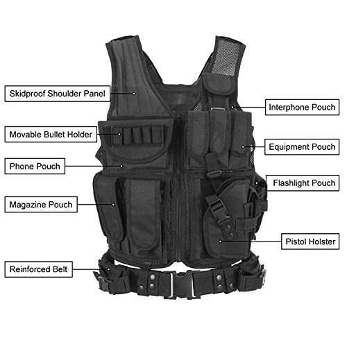 YoMont  4 YoMont Tactical Vest Outdoor Molle Vest Military for Man Women Youth Trainning Tactical Airsoft Combat Vest 600D Encryption Polyester-Military Vest-Adjustable Lightweight