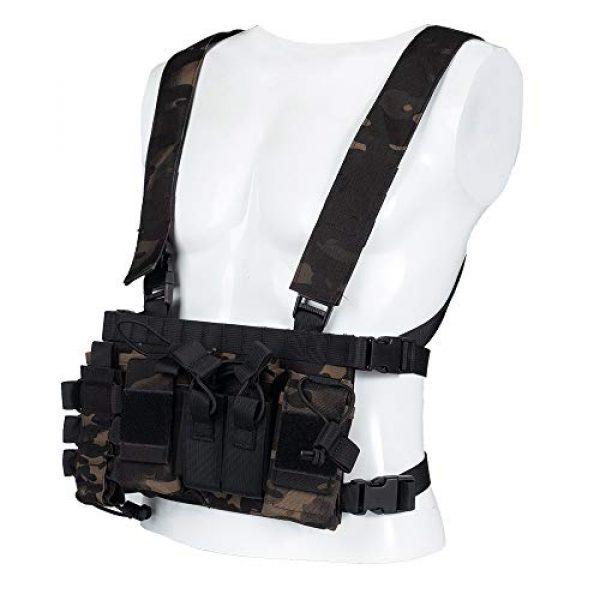 Trdio Airsoft Tactical Vest 1 Trido Chest Rig Tactical Airsoft,Molle Multicum Paintball Rigs Police Pistol Harness Holster Holder Bag Vest for Men Hunting Training
