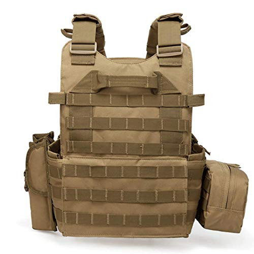 DMAIP  2 DMAIP Hunting Molle Tactical Vest Combat Security Training Tool Pouch Modoular Protective Durable Waistcoat for Outdoor Paintball CS Game Airsoft Climbing Hiking