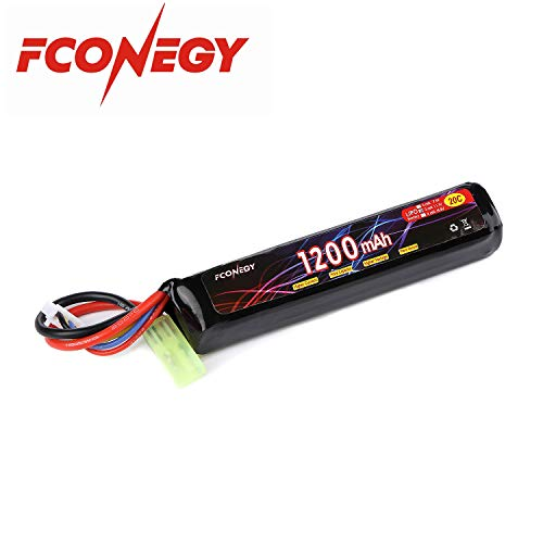FCONEGY Airsoft Battery 1 FCONEGY 2S/3S 7.4V/11.1V 1200mAh 20C Lipo Battery Pack with Small Tamiya Plug for Airsoft Gun/Rifle