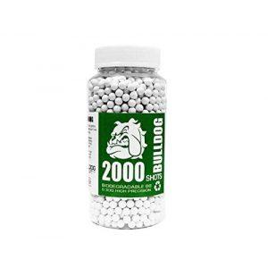 BULLDOG AIRSOFT Airsoft BB 1 Bulldog - [2000] Airsoft Pellets [0.30g] Biodegradable [6mm White] Triple Polished [Pro Team Grade]