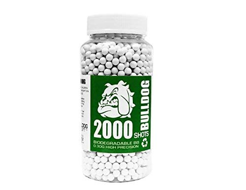 BULLDOG AIRSOFT Airsoft BB 1 Bulldog 2000 Airsoft Pellets [0.30g] Biodegradable [6mm White] Triple Polished