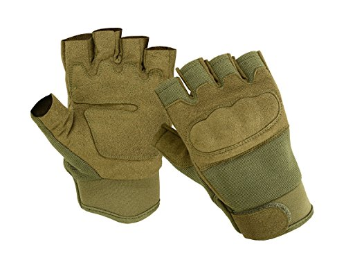 ONETAC OUTDOOR Airsoft Glove 1 ONETAC OUTDOOR Olive Green 1/2 Finger Fingerless Military Airsoft Tactical Hard Knuckle Shooting Gloves