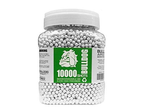 BULLDOG AIRSOFT Airsoft BB 1 Bulldog - [10000] Airsoft 10K Pellets [0.20g] Biodegradable [6mm White] Triple Polished [Pro Team Grade]