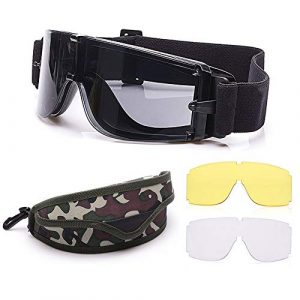 Elemart Airsoft Goggle 1 Elemart Tactical Airsoft Goggles - Safety Goggles Army Goggles Military Eye Protection Hunting Glasses for Shooting - 3 Interchangeable Multi Lens & Carrying Case