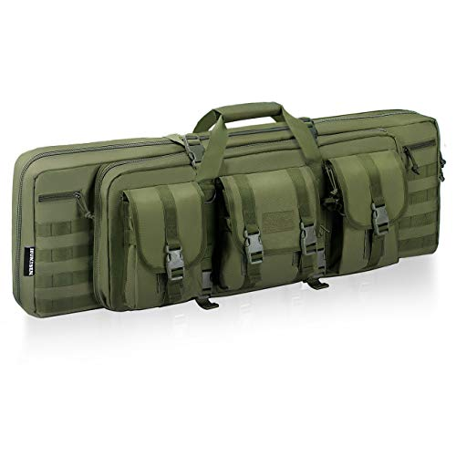 HUNTSEN Airsoft Gun Case 1 HUNTSEN Tactical Double Long Rifle Pistol Gun Bag Firearm Transportation Case Double Rifle Bag Outdoor Tactical Carbine Cases Water Dust Resistant Long Gun Case Bag