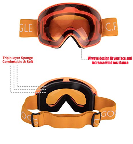 Winter Snow Sports Snowboard Goggles Over Glasses with Anti-Fog UV400 Protection Interchangeable Lens for Men Women & Youth Snowmobile Skiing Skating Eyewear