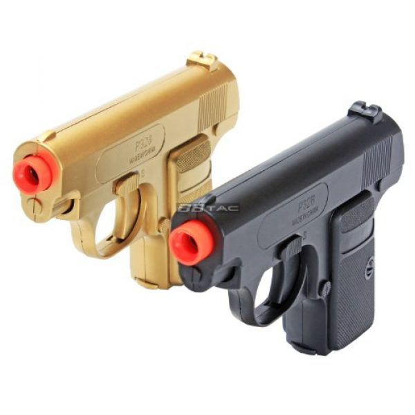 BBTac Airsoft Pistol 2 bbtac gold and black dual 618 airsoft sub-compact pocket pistols 110 fps spring concealable gun with storage case(Airsoft Gun)