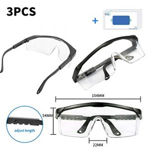 heibond Airsoft Goggle 1 heibond Safety Goggle 3PCS Premium Anti Fog Glasses Dust-Proof Wind-Proof Protection Eye wear Goggles Safety Glasses with Clear Scratch Resistant High Blunt(Gift Wet Wipes