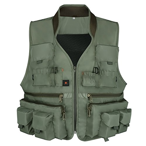 Anglerbasics  1 Anglerbasics Army Green Multifunction Airsoft Tactical Vest Quick Dry Multi Pockets Mesh Breathable Active Military wear Jacket- Fits for All Outdoor Sports