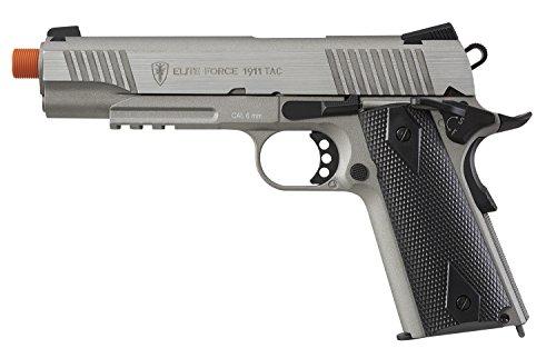 Elite Force Airsoft Pistol 1 Elite Force 1911 Blowback 6mm BB Pistol Airsoft Gun, 1911 TAC, Silver/Black