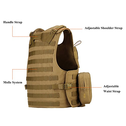 ArcEnCiel Airsoft Tactical Vest 5 ArcEnCiel Tactical Molle Vest, Coyote Brown
