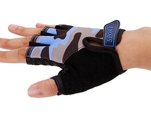 BXT Airsoft Glove 5 Children Cycling Fingerless Gloves Breathable Half Finger Non-Slip Shock-Absorbing Kids Bike Riding Gloves Outdoor Sports Gloves for Fishing Bicycle Roller Skating Hunting Climbing for Girls Boys