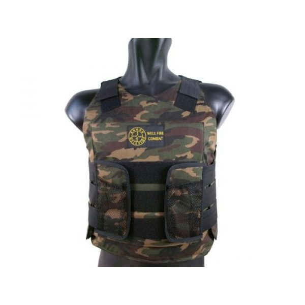 BBTac Airsoft Tactical Vest 1 BBTac Airsoft Protection Vest, Padded Cushion (Woodland Camo)
