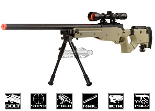 Well  1 Well Full Metal MB08 Bolt Action Sniper Rifle (Tan/Scope Package)