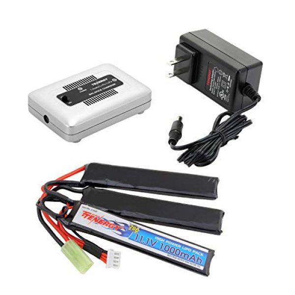 Tenergy Airsoft Battery 1 Tenergy Airsoft Battery 11.1V 1000mAh 20C High Discharge Rate LiPo Battery Pack Split Type Crane Stock Battery Pack with Mini Tamiya Connector + 1-4 Cells LiPo/Life Balance Charger for Airsoft Guns