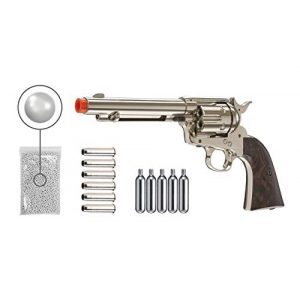 Wearable4U Airsoft Pistol 1 Wearable4U Legends Smoke Wagon Revolver Nickel Airsoft Pistol with 6pack Shells and 5x12 Gram CO2 Tanks Pack of 1000 6mm 0.20g BBS Bundle