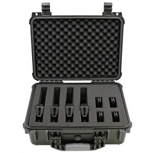 "CASEMATIX Airsoft Gun Case 1 CASEMATIX 16"" 4 Pistol Multiple Pistol Case - Waterproof & Shockproof Hard Gun Cases for Pistols, Magazines and Accessories - Multi Gun Case for Pistols with Two Layers of 2"" Thick Customizable Foam"